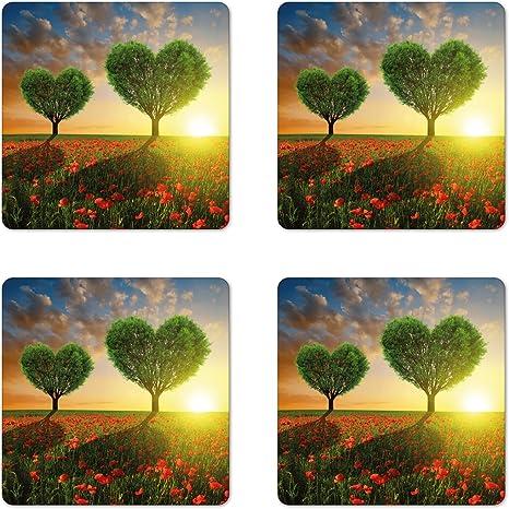 Set of 4 Valentine\u2019s Day Coasters
