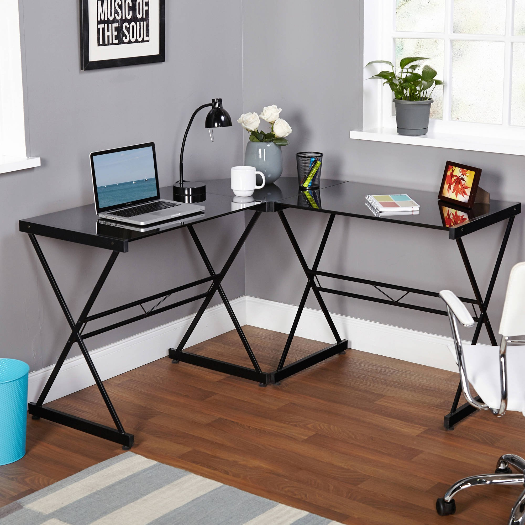Classy Atrium Metal and Glass L-shaped Computer Desk, Durable Tempered Glass and Sturdy Metal Frame, Elegant Addition to Home and Office Furniture, Multiple Colors (L: 51.00 x W: 51.00 x H: 29.00 in)