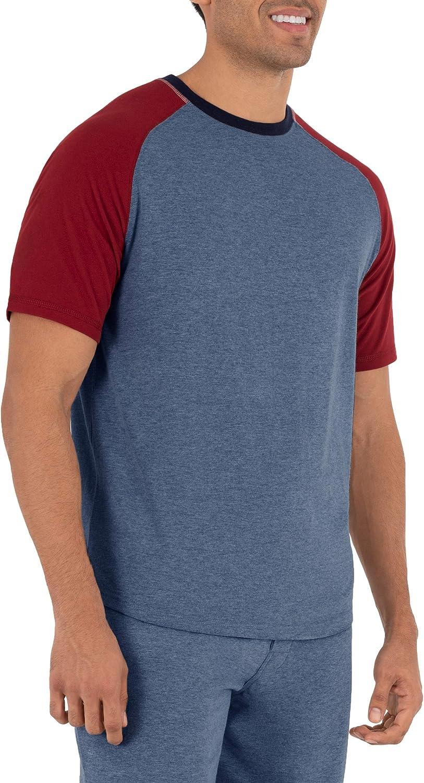 IZOD Mens Short Sleeve Poly Sueded Jersey Colorblocked Raglan Crew Neck Top