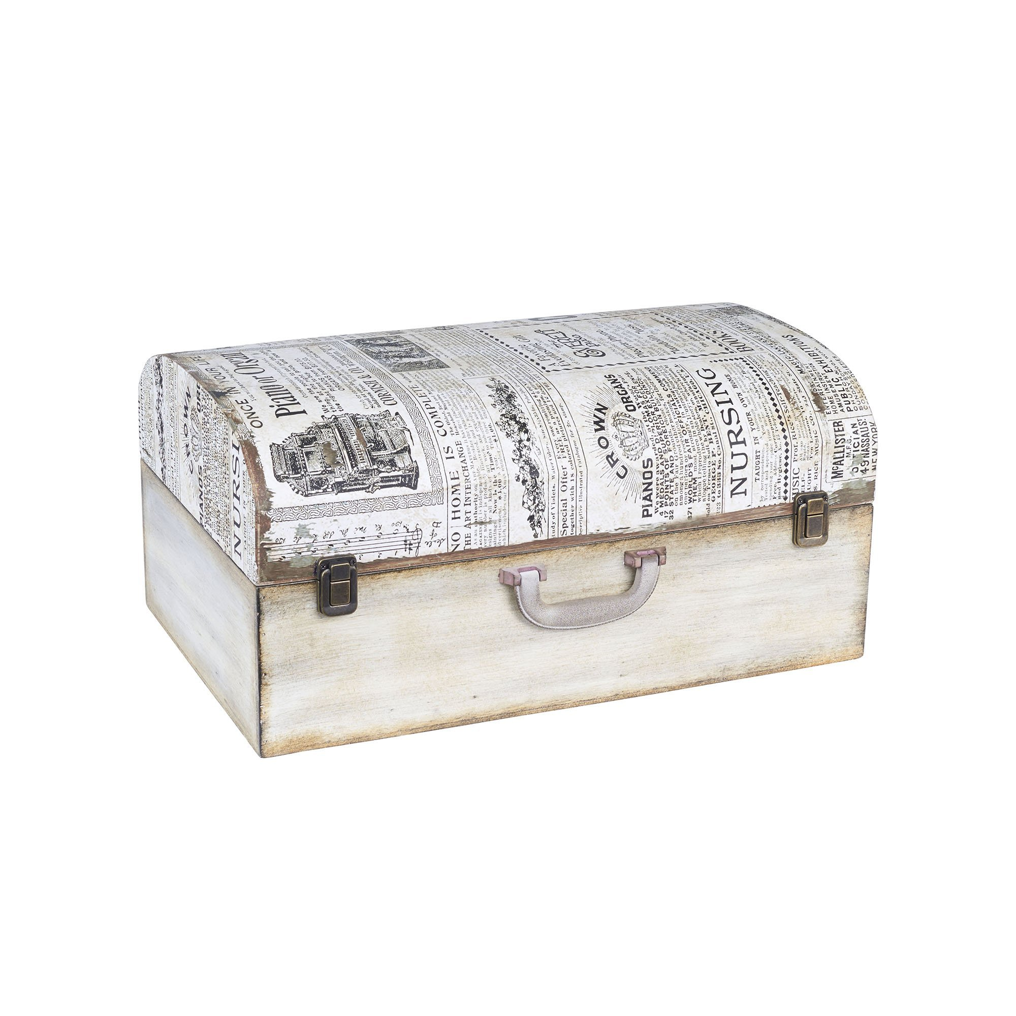 Household Essentials 9527-1 Vintage Wood Suitcase Storage Trunk, Large, White/Newspaper