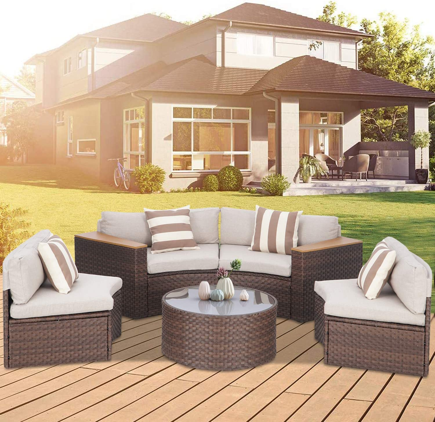 Crownland 5 Pieces Outdoor Patio Sectional Furniture Set, All-Weather Brown Wicker Half-Moon Sofa with Tempered Glass Round Table and Thick Cushions,Suitable for Backyards and Pools (Brown)