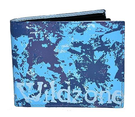 Cartera de piel wildzone de color azul con diseño joven y original (Azul)