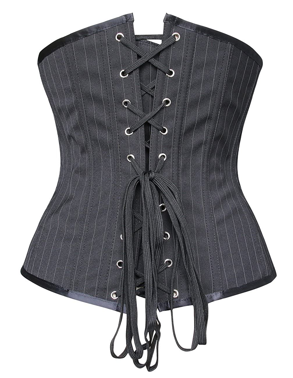 2cd7465a3b Charmian Women s Steampunk Gothic Waist Cincher Stripe Buckles Underbust  Corset at Amazon Women s Clothing store