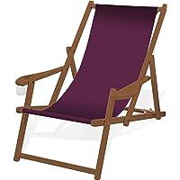 Holz-Liegestuhl mit Armlehne und Getränkehalter, Klappbar, mit dunkelbrauner Lasur, Wechselbezug