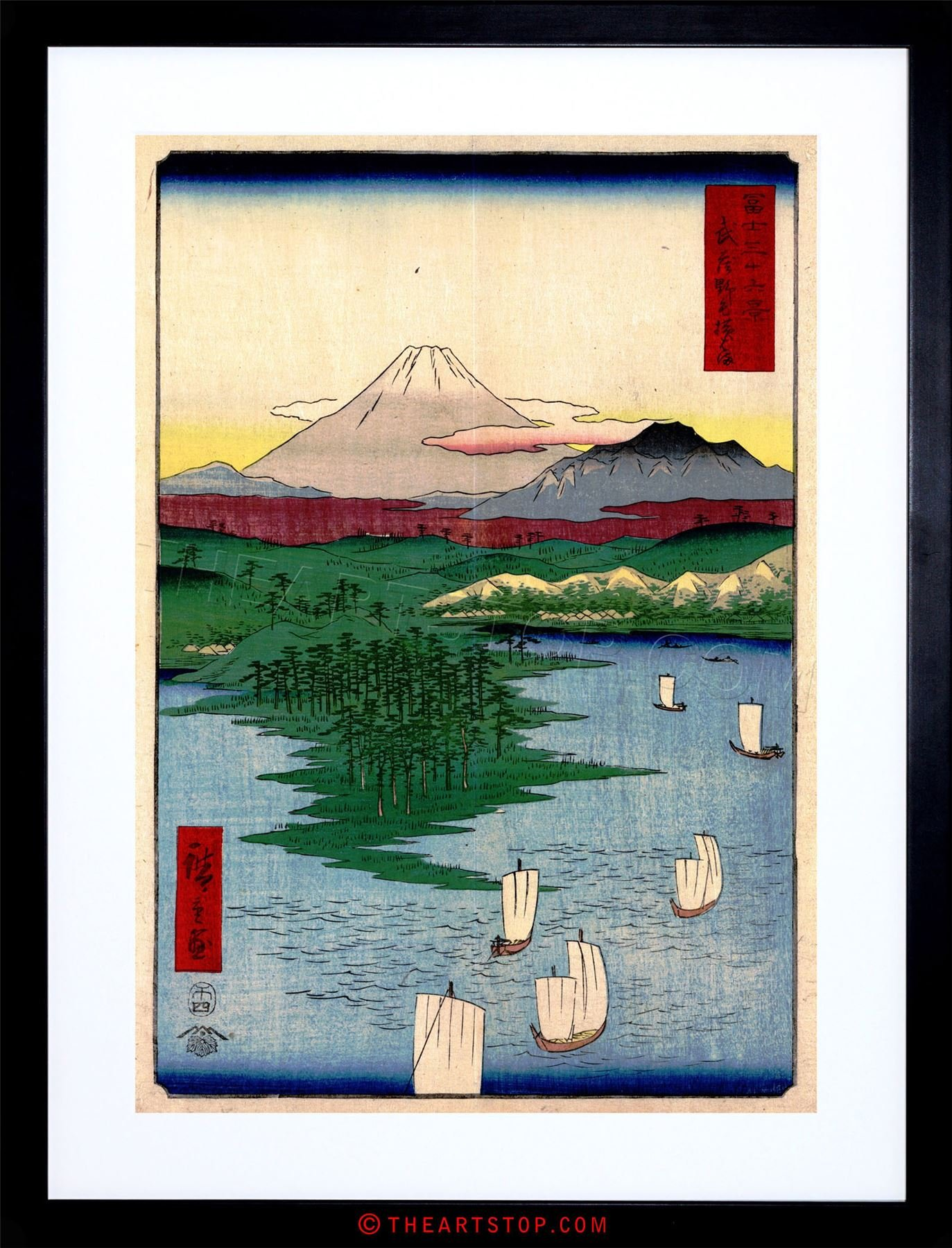 PAINTING JAPANESE WOODBLOCK NOGE YOKOHAMA FRAMED PRINT F97X4822