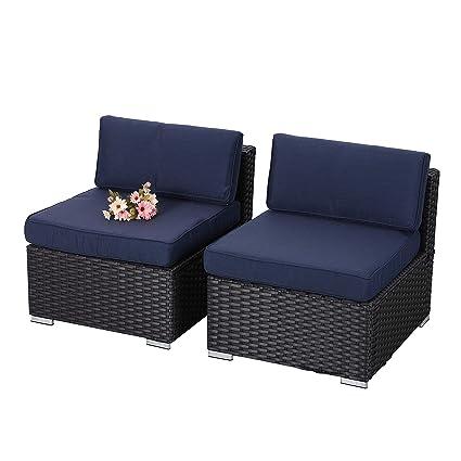 Etonnant PHI VILLA 2 Piece Patio Furniture Set Rattan Sectional Sofa With Seat  Cushions, Blue