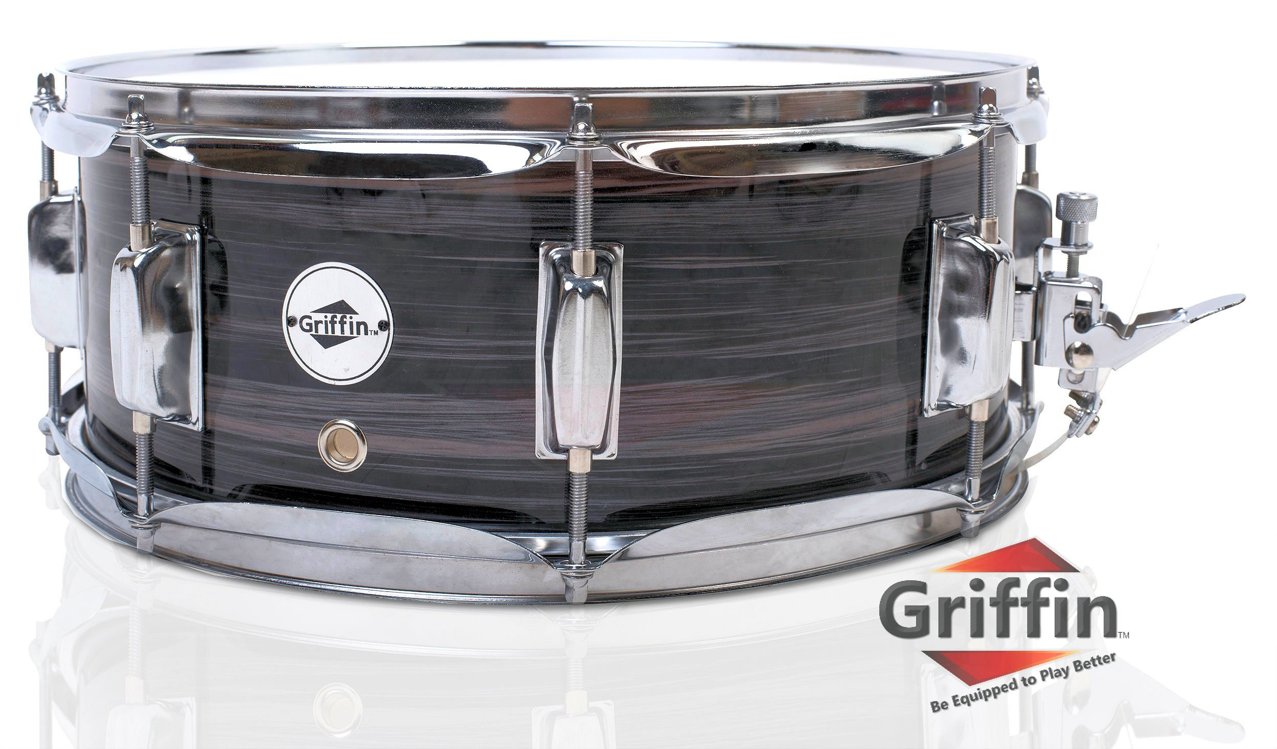 Deluxe Snare Drum by Griffin | 14'' x 5.5'' Poplar Wood Shell with Zebra PVC Glossy Finish | Percussion Musical Instrument with Drummers Key for Students & Professionals |8 Tuning Lugs & Snare Strainer by Griffin