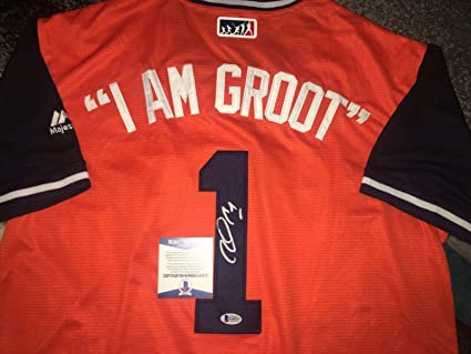 watch be532 40eac Autographed Carlos Correa Jersey - Nickname I Am Groot Star ...