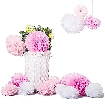 Bliqniq 15 Diy Pompom Pompons Papierblumen Dekoration Fur Hochzeit