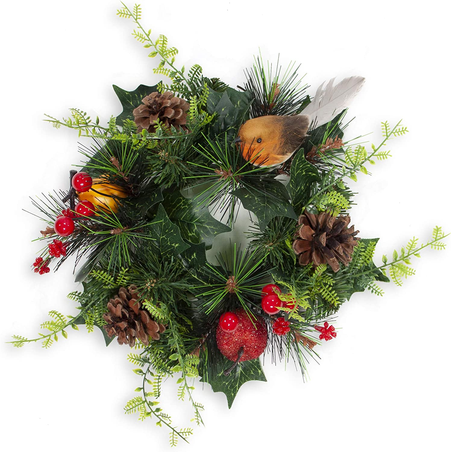 Christmas Candle Wreath - Christmas Candle Holder Ring with Glittery Apples, Pinecones, Red Berries & Bird Decor - 10