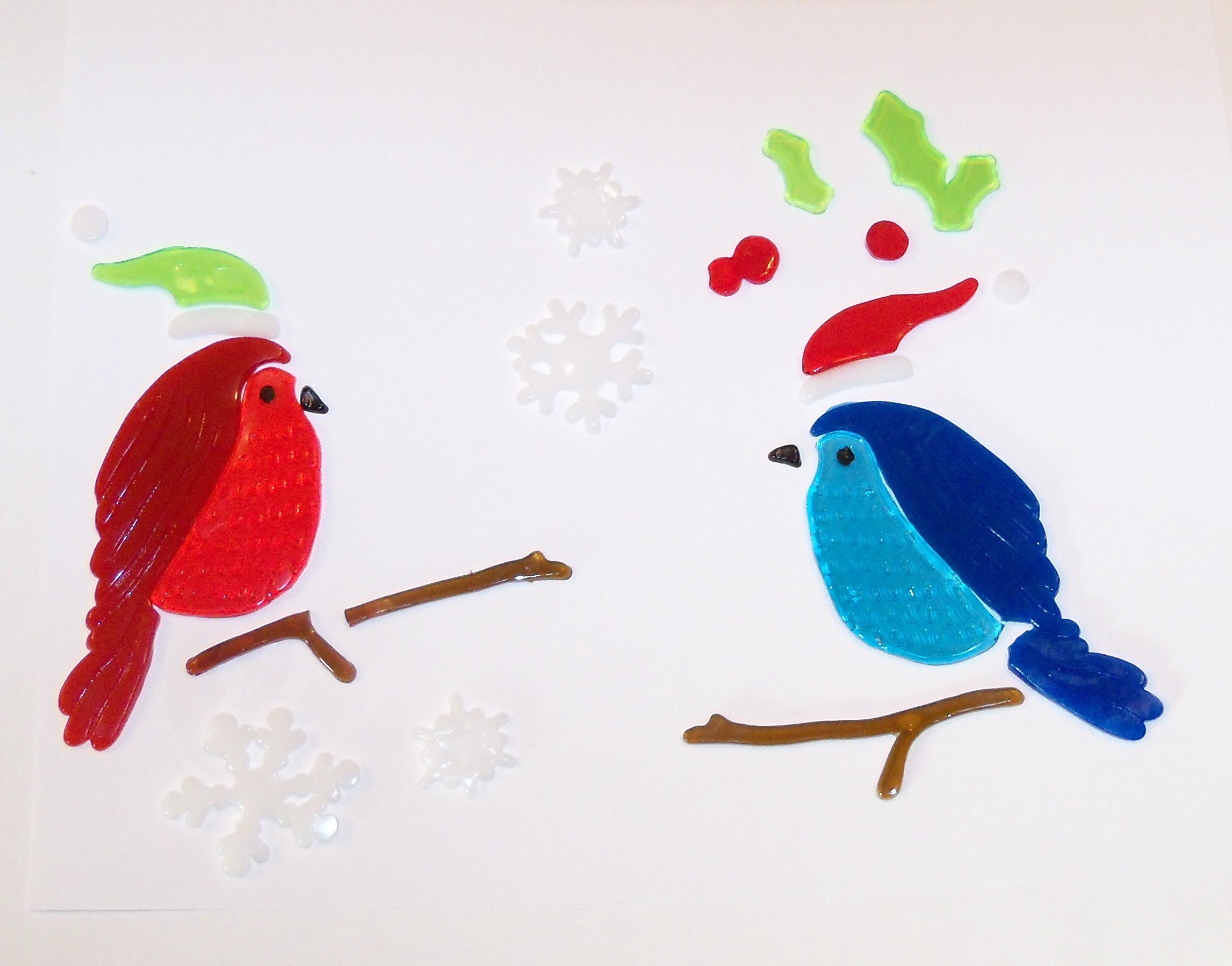 Impact Innovations Winter Reusable Gel Window Clings ~ Cardinal and Bluejay Holiday Fun (17 Clings, 1 Sheet)