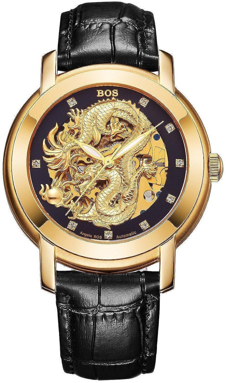 Angela Bos Herren ausgehÖhlten Chinese Dragon Fashion Mechanische Wasserdicht Armbanduhr Schwarz Zifferblatt Schwarz