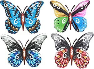 Outdoor Decor Wall Metal Butterfly Art for Living Bedroom Room Patio Fence Set of 4 Colorful Garden Sculpture Wall Hanging
