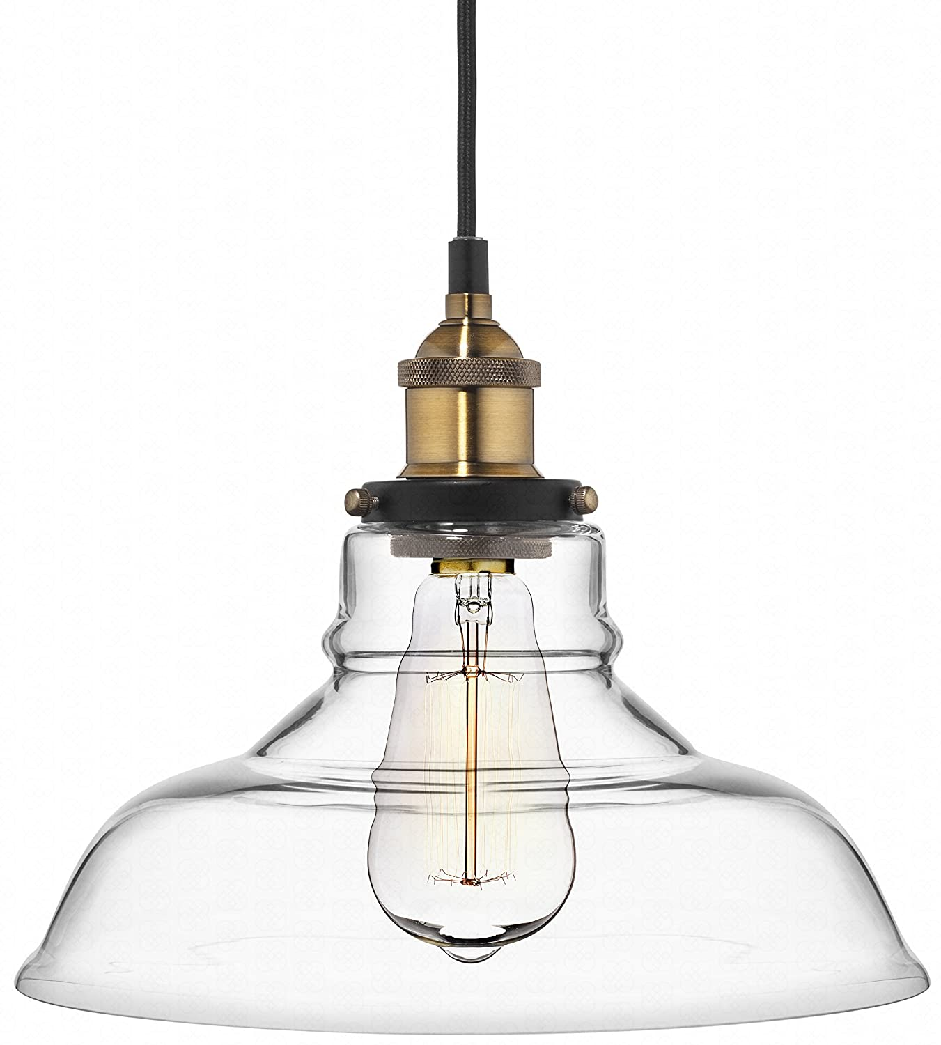 lighting pendants kitchen. Farmhouse Clear Glass Shade Ceiling Pendant Lighting, Kitchen Chandelier Style With Brass Fixture By Deneve - Amazon.com Lighting Pendants