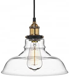 Farmhouse Clear Glass Shade Ceiling Pendant Lighting, Kitchen Chandelier Style with Brass Fixture by Deneve