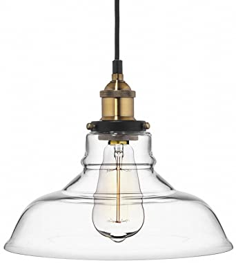 Captivating Deneve Clear Glass Shade Pendant Light Brass Ceiling Fixture