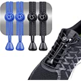 Gritin Cordones Elásticos para Zapatillas, 2 Paquetes(Negro y Azul) Cordones Elasticos para Zapatillas Zapatos Deporte…