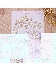 Plantillas con diferentes patrones ZHUOTOP para pintar con aerógrafo, para manualidades y decoración, 04