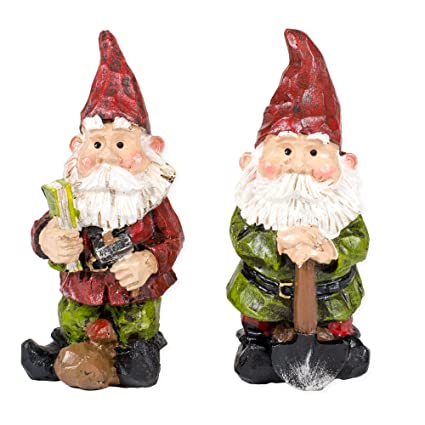 garden gnomes with tools 4 inch resin indoor outdoor fairy garden figurines set of 2 - Garden Figurines