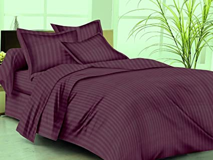Trance Home Linen Cotton 210 Tc Queen Double Fitted Bedsheet with 2 Pillow Covers (78x60 Inches, Deep Wine)