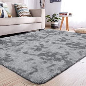 YJ.GWL Soft Indoor Large Modern Area Rugs Shaggy Fluffy Carpets Suitable for Living Room and Bedroom Nursery Rugs Abstract Accent Home Decor Rugs for Girls and Kids 4x6 Feet Grey