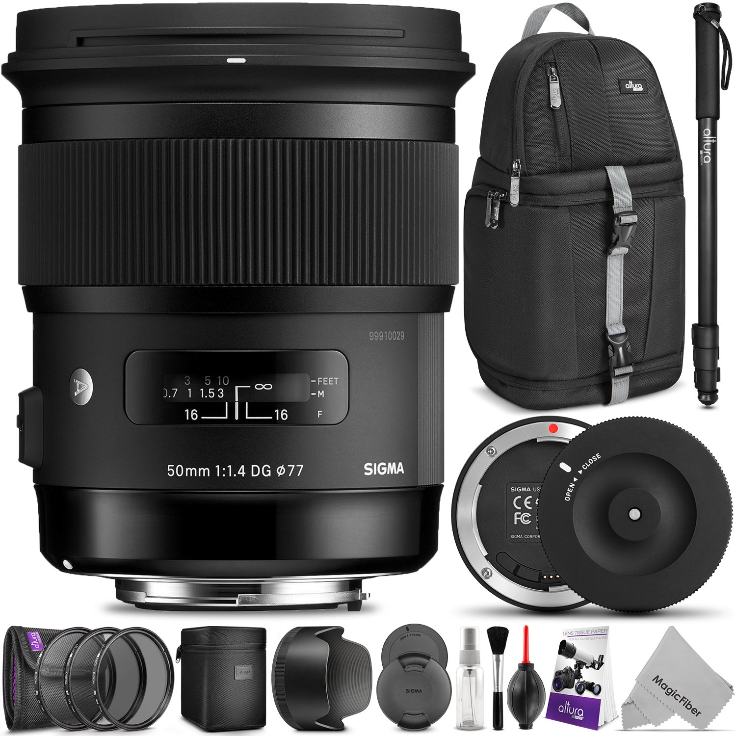 Sigma 50mm F1.4 ART DG HSM Lens for CANON DSLR Cameras w/ Sigma USB Dock & Advanced Photo and Travel Bundle by Sigma