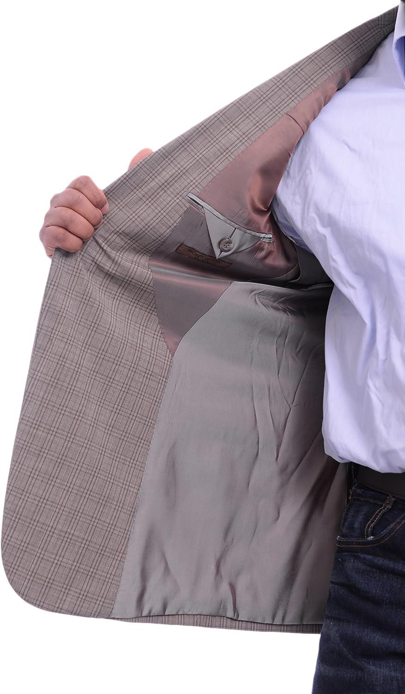 Prontomoda Classic Fit Light Brown Taupe Plaid Lambs Wool Blazer Sportcoat