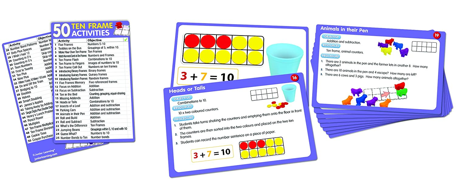 Amazon.com: Junior Learning 50 Ten Frame Activities: Toys & Games