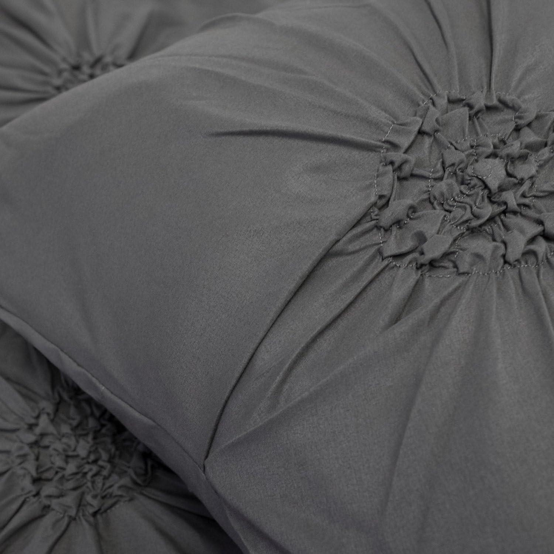 Sensation Ruched Fancy Floral Pintuck 3 Piece Duvet and Pillow Sham Set
