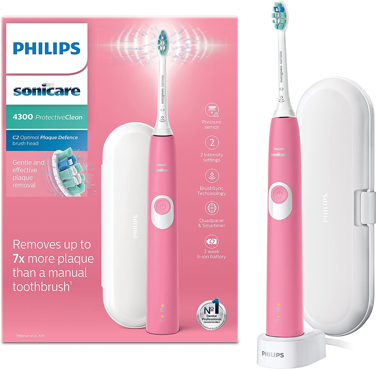 Philips Sonicare ProtectiveClean 4300 Electric Toothbrush with Travel Case Dark Pink (UK 2 pin Bathroom Plug) HX680503