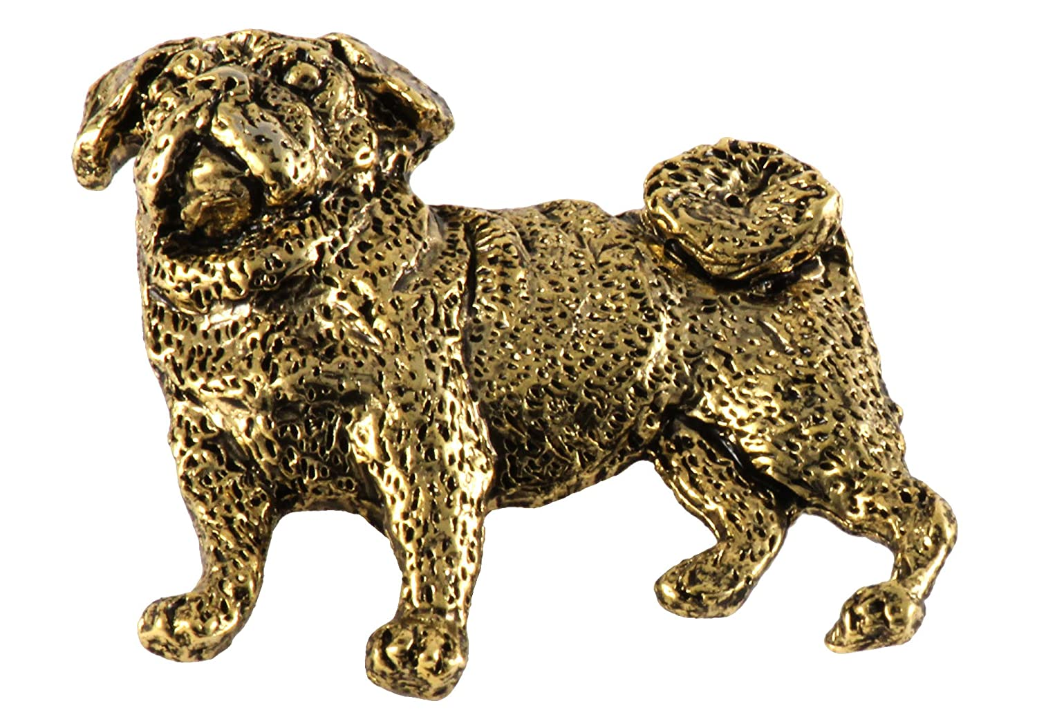 Creative Pewter Designs, Pewter Full Body Pug Handcrafted Dog Lapel Pin Brooch, D448F 24k Gold Plated DG448