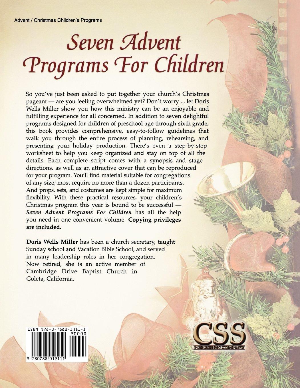 Church christmas programs - Seven Advent Programs For Children Doris Wells Miller 9780788019111 Amazon Com Books