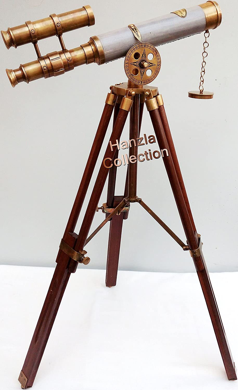 B01KRM3PDOアンティーク真鍮レザー望遠鏡ヴィンテージダブルバレルスコープwith木製三脚スタンド B01KRM3PDO, メガヘルスマート:ba31cd98 --- publishingfarm.com