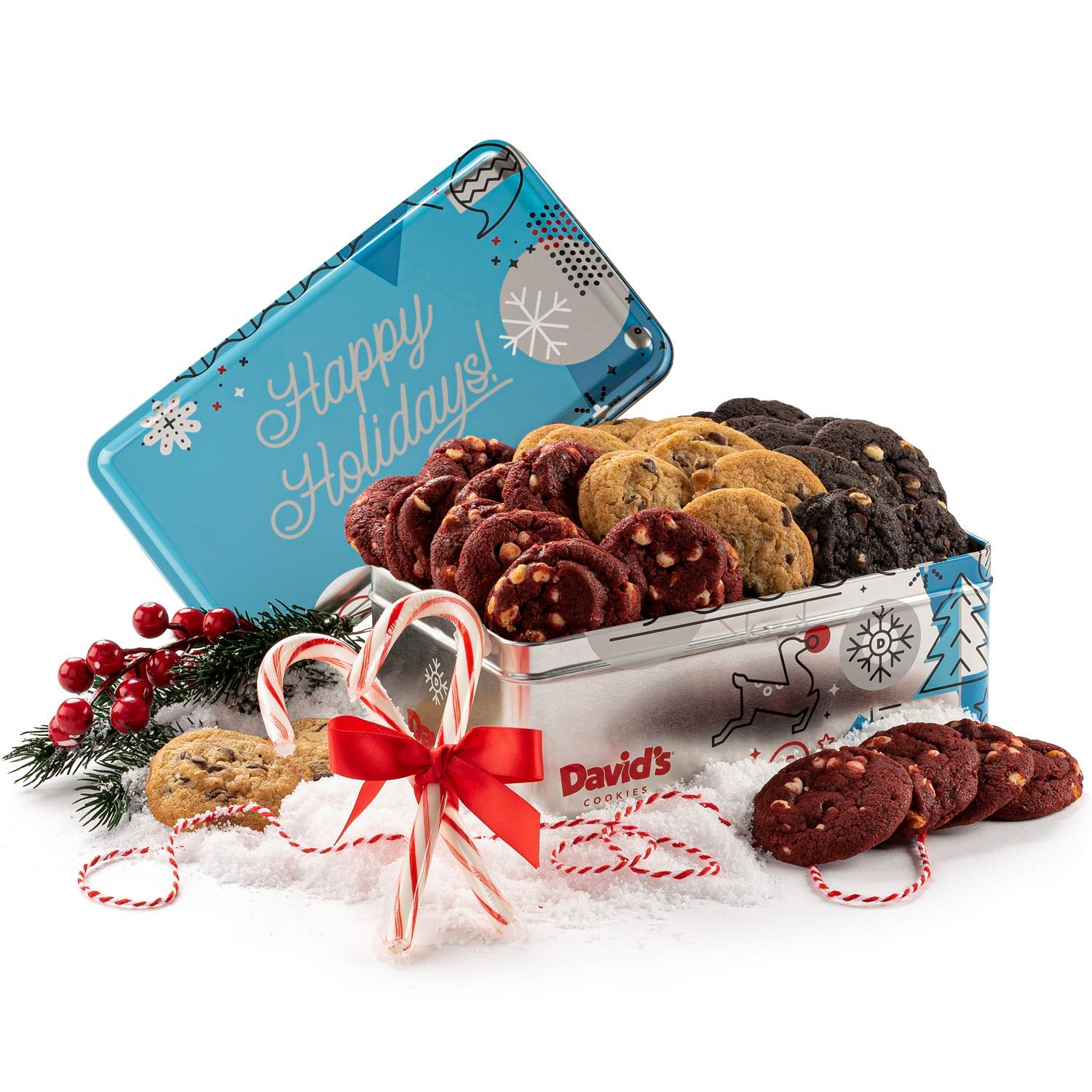 David's Fresh-Baked Winter Wonderland Tin, 0.5 Oz Assorted Mini Cookies with Chocolate Chip, Chocolate & White Chocolate Chip & Red Velvet Cookies, Gourmet Christmas Holiday & Corporate Food Gift