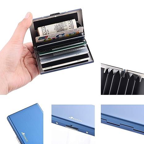 RFID Delgado Billetera de Acero Inoxidable con Tecnología de Bloqueo RFID Que Protege Tus Tarjetas de Crédito y DNI para Tarjetero con 6 Ranuras Ultra ...