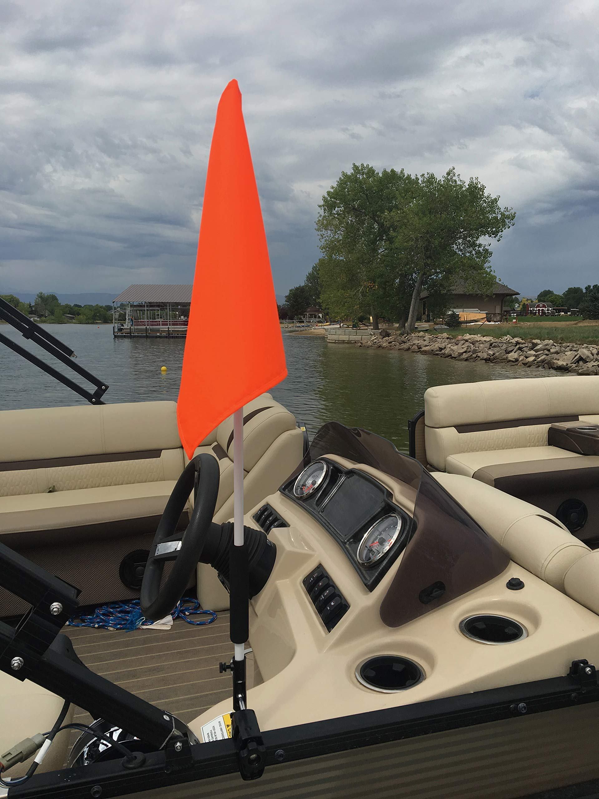 Pontoon Boat Flag Holder. Orange Safety Flag Included. Tired of Holding The Skier Down Flag? Just clamp The Flag Buddy to Your Boat and Rotate it up When Required. Rubbber Clamping Pads. by Caddie Buddy