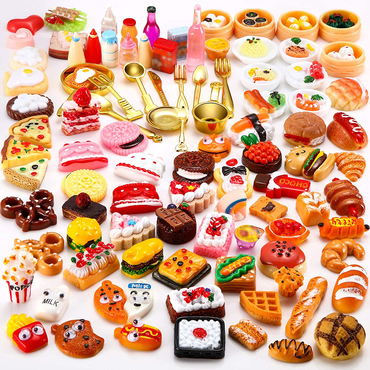 Sumind 100 Pieces Miniature Food Drinks Toys Mixed Pretend Foods for Dollhouse Kitchen Play Resin Mini Food for Adults Teenagers Doll House