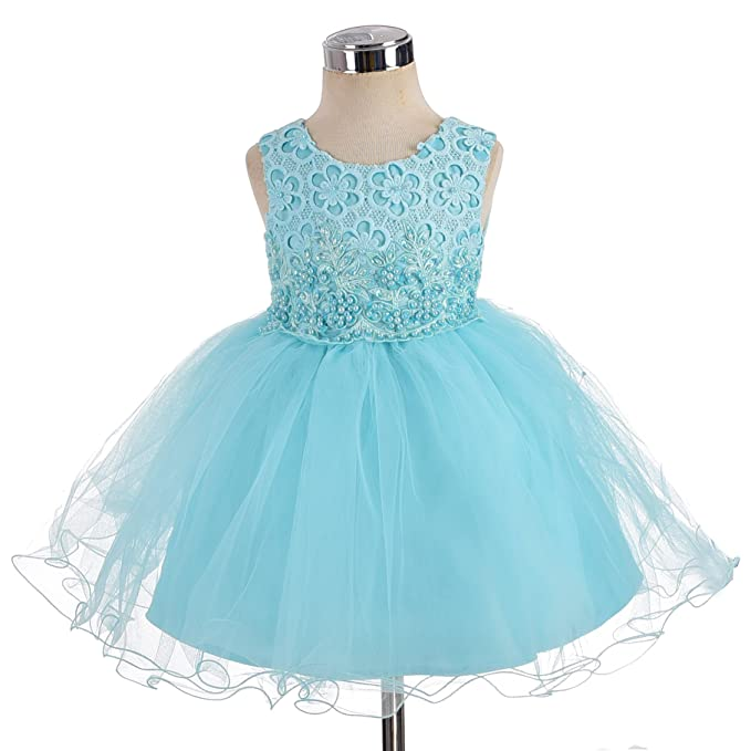 8014ce0cf1 Amazon.com  Dressy Daisy Baby-Girls  Floral Beaded Wedding Flower Girl Party  Pageant Dresses  Clothing