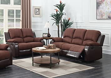 Amazon.com: GTU Furniture 2-Tone Brown Reclining Sofa Loveseat ...