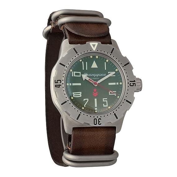 Vostok KOMANDIRSKIE K35 ruso Militar reloj de pulsera correa de piel WR 100 M # 350746: Amazon.es: Relojes