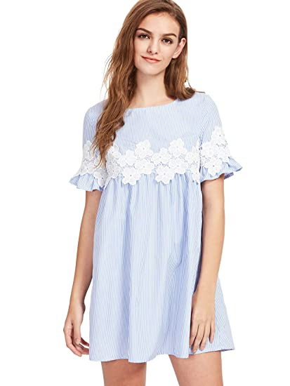 201ed6e288f92 ROMWE Women's Striped Floral Lace Ruffle Short Sleeve Babydoll A Line Dress  Blue XS
