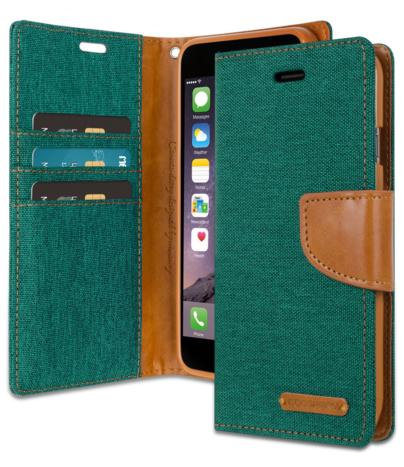 iPhone 6/6S Wallet Case with Free 6 Gifts [Shockproof] GOOSPERY Canvas Diary Ver.Magnetic [Denim Material] Card Holder with Kickstand Flip Cover for Apple iPhone6S 6 - Green, IP6-CAN/GF-GRN by GOOSPERY