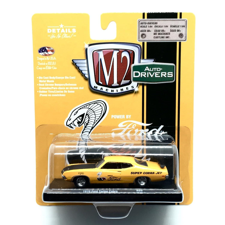 M2 Machines 1970 Ford Torino Cobra (Grabber Orange w/Semi-Gloss Black Hood) Auto-Drivers Release 50 - Castline 2018 Special Edition 1:64 Scale Die-Cast ...