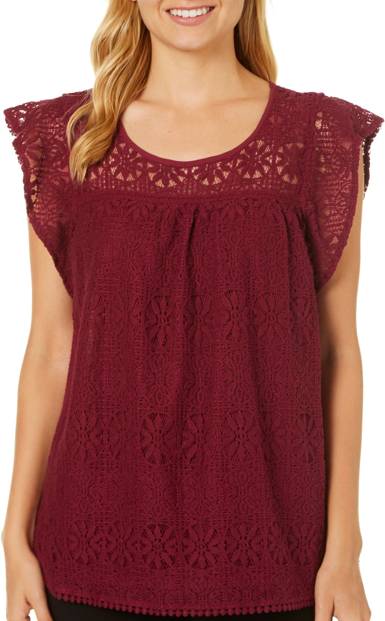 Miss Chievous Juniors Floral Lace Cap Sleeve Top Small Fine Wine red