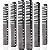 6 Pieces Carbon Fine Cutting Comb Carbon Fiber Salon Hairdressing Comb Hairdressing Comb Heat Resistant Barber Comb (6…