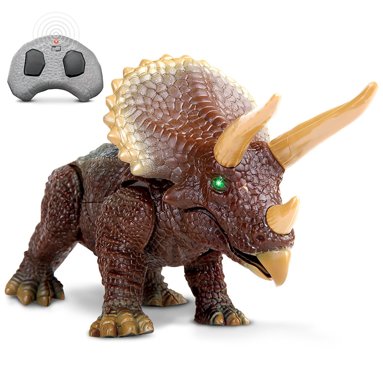 DISCOVERY KIDS RC Triceratops, LED Infrared Remote Control, Built-In Speakers W/ Digital Sound Effects, Figure Stands 10 Inches Long, Includes Glowing Eyes, Life-Like Motion, A Great Toy For Girls/Boy