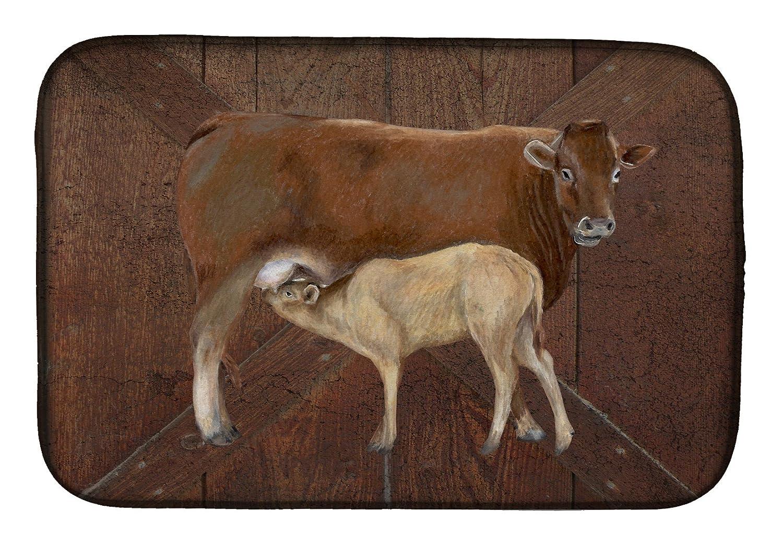 Caroline 's Treasures sb3074ddm Cow Momma and赤ちゃんディッシュ乾燥マット、14