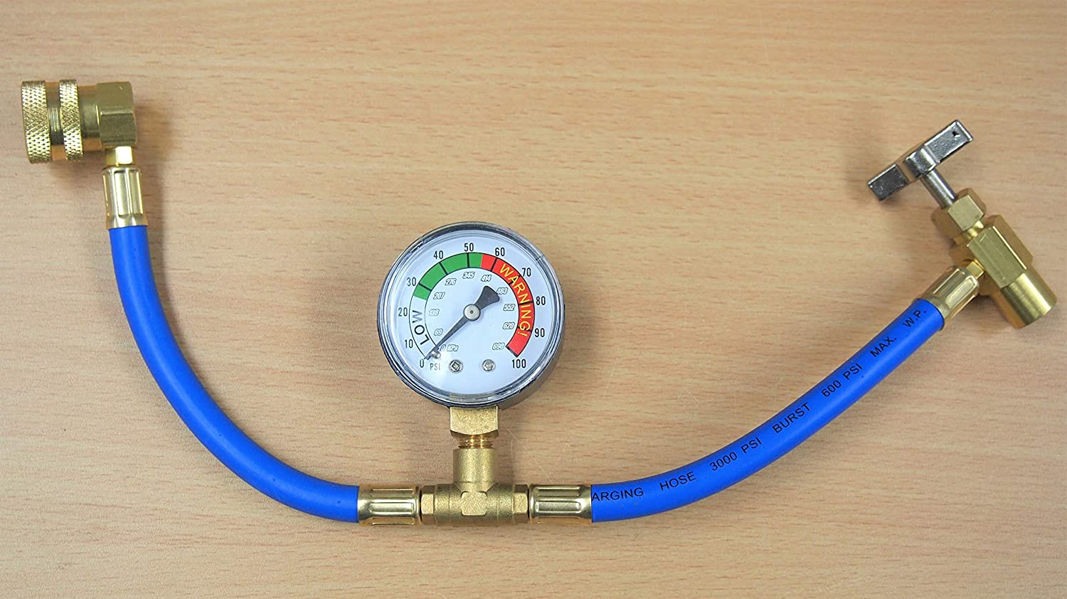 ASOOLL R134A Car Refrigerant Recharge Hose Automotive Air Conditioning U Charging Hose Low Pressure Measuring Meter Can Tap and Quick Coupler