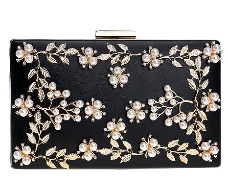 Nupcial Bolso Mujer Noche Bolsas Partido Carteras Brillo Mano Cristales Cadena Embrague Flores Negro