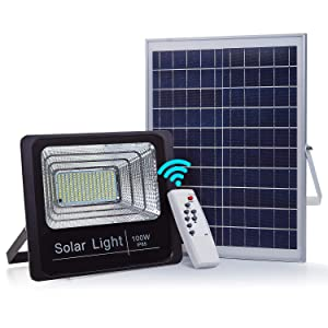 CNSUNWAY Solar Powered Flood Light - 100W 5100LM 6000K Premium LED Security Lights with Remote Control, Waterproof Street & Area Lighting for Yard, Garden, Gutter, Swimming Pool, Pathway
